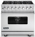 "VDSC536-6B Viking 36"" Sealed Burner Dual Fuel Range with 6 Burners - Stainless Steel"
