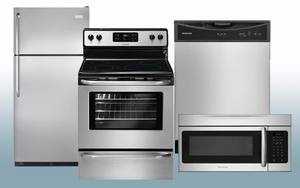 Package 15 - Frigidaire Builder's Special Package - 4 Piece Appliance Package with Top Mount Refrigerator - Stainless Steel - Electric