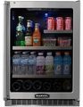 "MPRO6GARMBDLR Marvel Undercounter 24"" Professional Refrigerator Beverage Center - Black Cabinet + Overlay Frame Glass Door - Right Hinge"