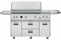 "ZGG542LCPSS GE Monogram 54"" Freestanding Outdoor Grill with Integrated Side Burners - Liquid Propane - Stainless Steel"
