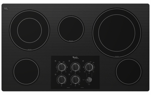"""G7CE3635XB Whirlpool 5 Element Electric Cooktop 36"""" Built-in - Black"""