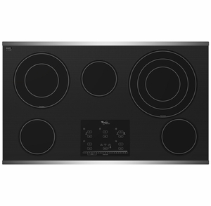 "G9CE3675XS Whirlpool Gold 36"" Electric Cooktop - Black on Stainless Steel"