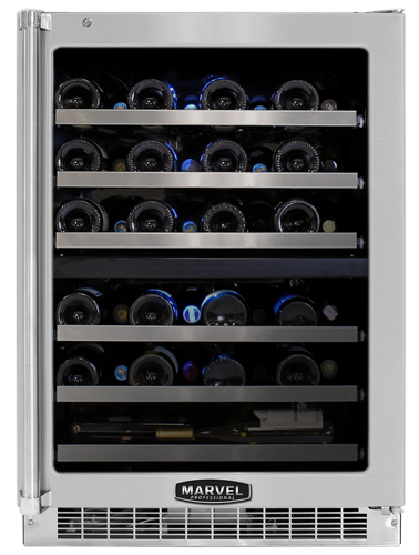 """MPRO6DZE-BS-LR Marvel Professional 24"""" Wide Dual Zone Wine Cellar - Black Cabinet - Stainless Steel Frame Glass Door - Right Hinge"""