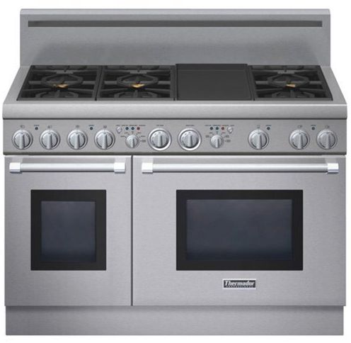 "PRD486GDHU Thermador 48"" Pro Harmony Dual Fuel Pro Style Range with 6 Burners and Electric Griddle - Stainless Steel"