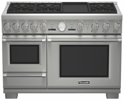 "PRD48JDSGU Thermador 48"" Professional Series Pro Grand Commercial Depth Dual Fuel Steam Range - Stainless Steel"