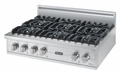 "VGRT536-6BSS Viking 36"" Gas Custom Sealed Burner Rangetop with 6 Burners - Stainless Steel"