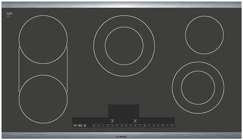 "NET5654UC Bosch 500 Series 36"" 5 Burner Electric Cooktop - Black with Stainless Steel Trim"