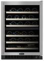 "6SDZE-BB-G-R Marvel 24"" Undercounter 44 Bottle Dual Zone Wine Cellar with Black Cabinet & Black Framed Glass Door with Lock - Right Hinged"