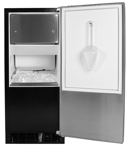 "30IMT-WW-O-R-P  Marvel 15"" Indoor Clear Ice Machine with Factory-Installed Pump - White Cabinet, Overlay Panel - Right Hinge"