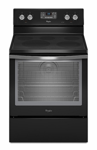 WFE540H0AE Whirlpool 6.2 Cu Ft. Electric Range with AquaLift Self-Clean Technology - Black Ice Collection - Black with Silver Handle