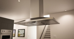 "ZAZ-M90AS Zephyr 36"" Anzio Island Hood  with 600 CFM Blower - Stainless Steel"