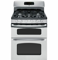 "JGB870SETSS GE 30"" Free Standing Double Gas Oven Range with Convection - Stainless Steel"