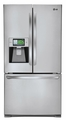 "LFX31995ST LG Smart ThinQ Super Capacity 3 Door French Door Refrigerator with 8"" Wi-Fi LCD Screen - Stainless Steel"