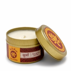 Lotus Love Beauty Soy Candle Tin in Surya (Hibiscus & Marigold)