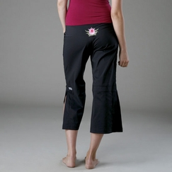 Be Present Lotus Mobility Pant (side slits) in Black w/ Pink Lotus