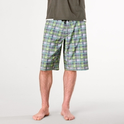 Eco Prana Linear Short in Grey Plaid