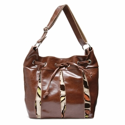 Crystalyn Kae Soiree Drawstring bag in Ale Brown Velvet Vines