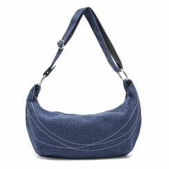 Crystalyn Kae Tweed Hobo in Blue Tweed