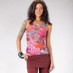 Eco Prana Eco Sabin Racer Top in Berry Garden