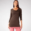 Stewart + Brown Gathered Raglan Long Sleeve Top