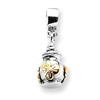 Sterling Silver & 14k Reflections Floral Ash Dangle Bead