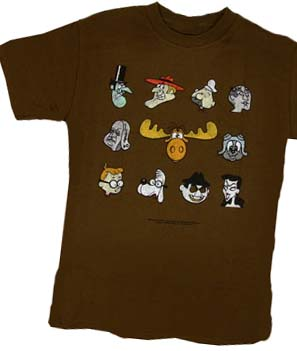 6d42be1d7 Rocky and Bullwinkle Show Faces Brown T-Shirt