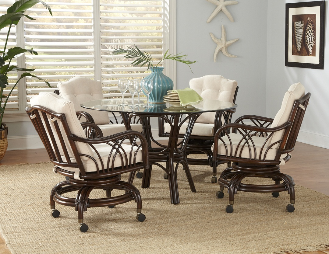 rattan swivel dining set