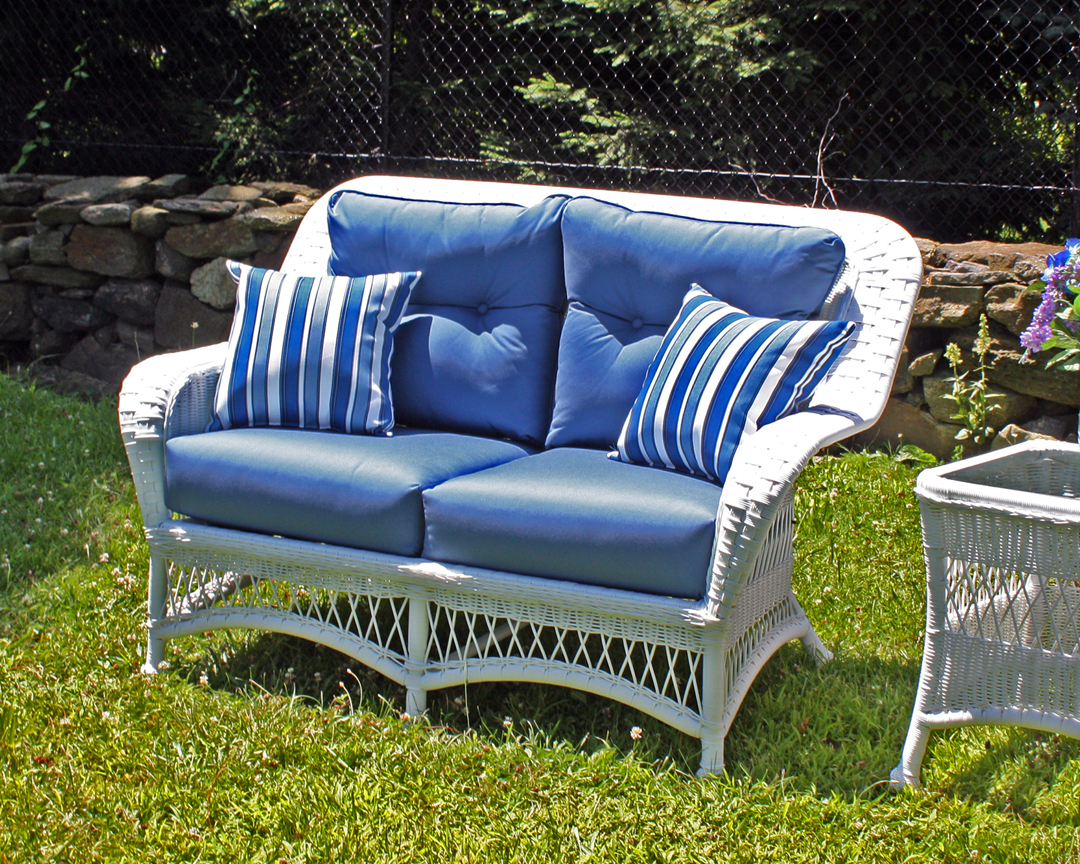 outdoor white wicker loveseat princeton