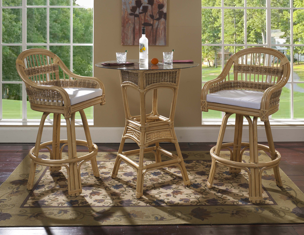Rattan Bar Stool Set - Tropical Breeze