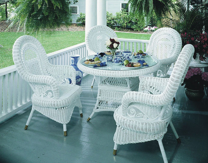 Victorian Wicker Dining Set Of 5 Wicker Paradise