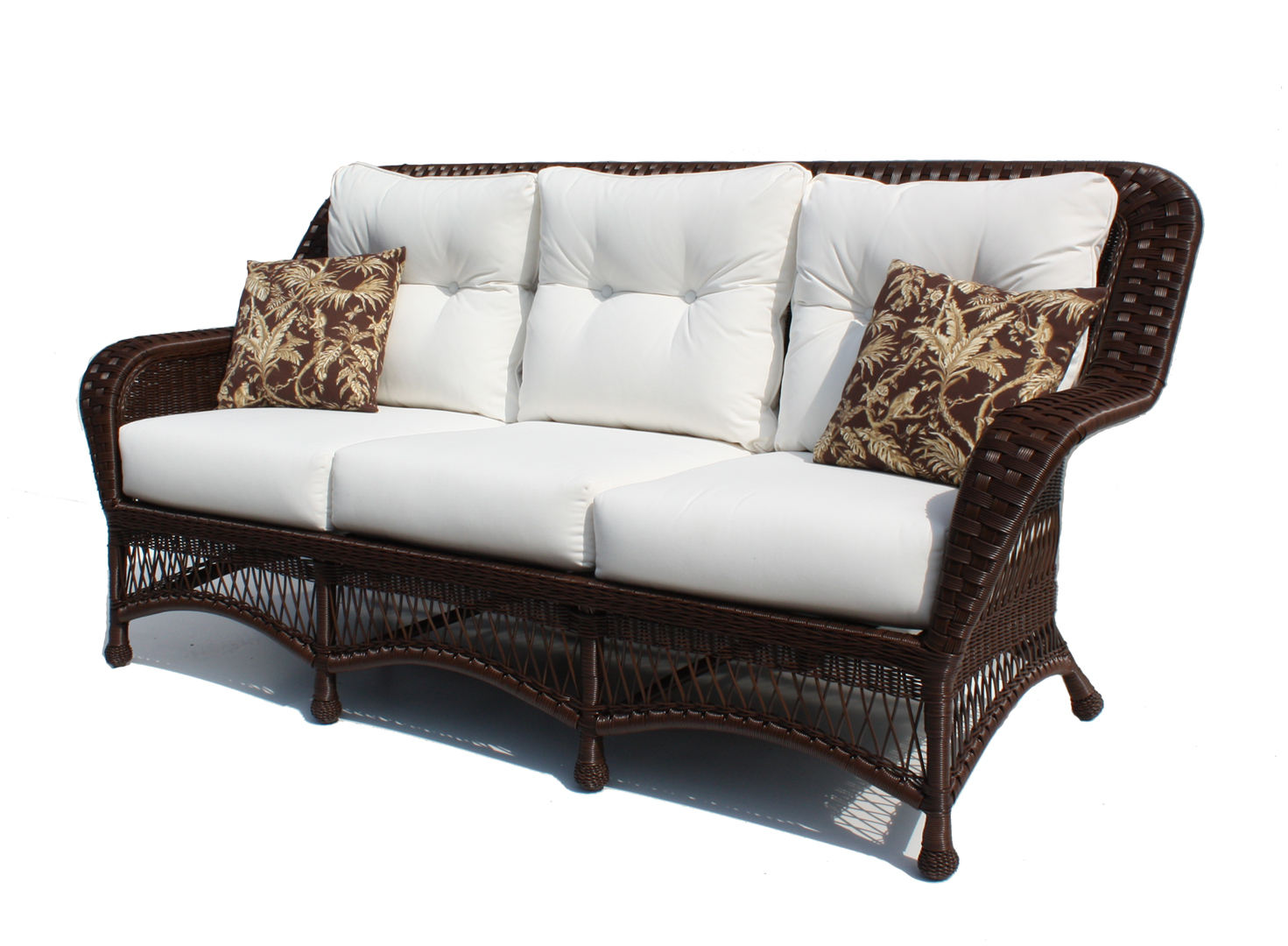 Attractive Outdoor Wicker Sofa   Princeton   Chocolate Brown