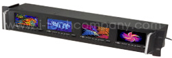 """Click to enlarge: 3U Rack LCD 4.4"""" Quad Rack Mount LCD Screens with front OSD, LCD video monitoring: (Model:MRS 3440)"""