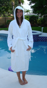 "Terry Hooded Robe 44"" OS 100% Cotton"