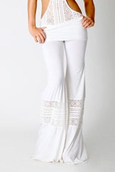 Nightcap Foldover Beach Pant in white