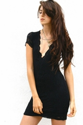 Nightcap Deep v cap sleeve lace dress in black CP416c FINAL SALE