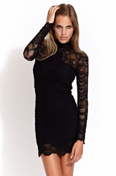 Nightcap Victorian long sleeve lace dress in black (CP402)