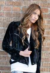 Nightcap Crushed velvet motorcycle jacket in black FINAL SALE