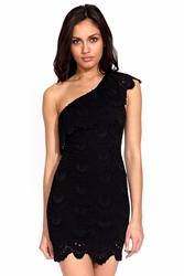 Nightcap Spanish lace one shoulder dress in black FINAL SALE
