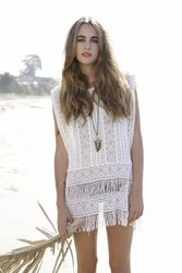 Nightcap Serape Cover-up in white FINAL SALE