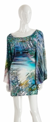 Alexis Ali flared poncho dress in psychodelic  FINAL SALE