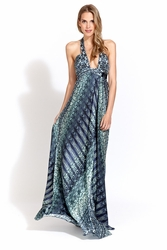 Alexis Lorenzo halter wrap dress in blue serenity FINAL SALE