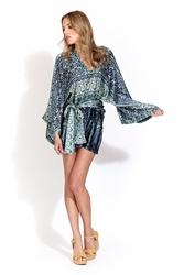 Alexis Raya long sleeve V neck dress in blue serenity FINAL SALE