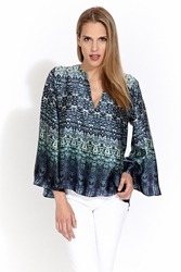 Alexis Jina long sleeve V-neck top in blue serenity FINAL SALE