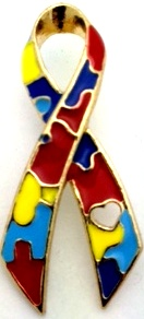 Autism Awareness Heart Ribbon Pin