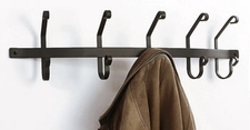 Wall Mounted Wrought Iron Coat Rack with 5 Hooks