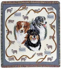 Dog Blanket, Throw, Afghan, Woven Tapestry Style, Australian Shepherd