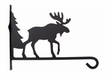 "Wrought Iron Plant Hanger, Wall Mounted,  Moose & Tree, 12"" Depth"