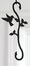Wrought Iron Plant Hanger-Decorative S-Hook - Hummingbird & Flower