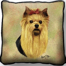 Yorkshire Terrier - Dog Breed Throw Pillow - Woven Tapestry Style