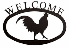 Large Wrought Iron Welcome Sign / Plaque - Rooster